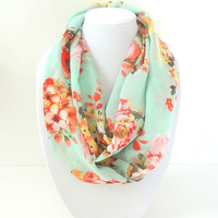 Mint Infinity Scarf, Floral Scarf, Printed Scarf, Spring Scarf