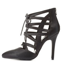 Cut-Out Lace-Up Pointed Toe Heels by Charlotte Russe