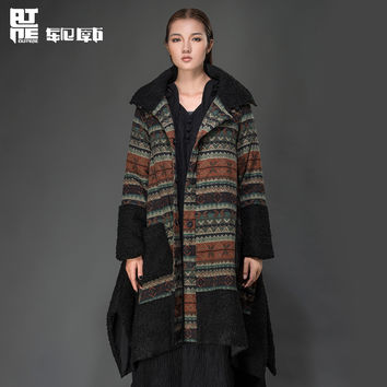 Outline Original Winter Cotton Coat Long Sleeve Vintage Print Loose Long Jacket Thicken Woman Warm Maxi Winter Coat L144Y009