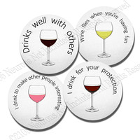 Funny Wine Sayings -  4 piece Neoprene Coaster Set