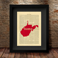West Virginia, West Virginia State, West Virginia Map, Art Print, Dictionary Print, State Map Print, Dictionary State Art Print -27V
