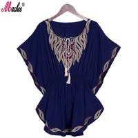 Machee 2017 New Summer Vintage Female Ethnic Mexican Floral Loose Shirt Tops Boho Cotton Batwing Sleeve Woman Embroidery Blouse