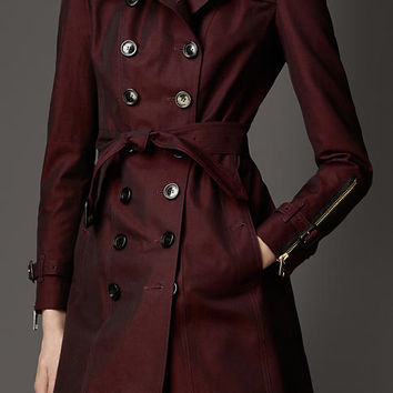 Long Grosgrain Detail Gabardine Trench Coat
