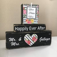 Wedding gift for couple, rustic wedding, wedding flowers, bridal shower gift, mr and mrs gift, wedding present, floral print, happily ever