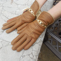 Vintage Womens  Gloves  Size Large Brown New With Tags by Aris Gold Strap