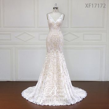 Custom made Stunning Vintage White V-neck With Cap Sleeves Beaded Mermaid Lace Wedding Dresses Vestido De Renda XF17172