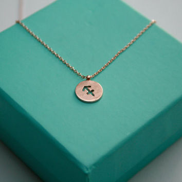 Dainty Circle Coin 12 Constellation Sagittarius Necklace