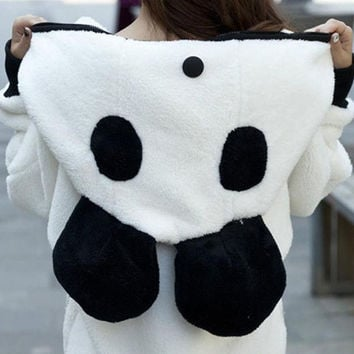 Women's Thick 3D Panda Hoodie Fleece Cardigan Hooded Coat Jacket Sweatshirt (Color: White) = 1932487556