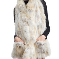 Gorski Knit Ruffle Fox Fur Stole w/ Pockets, White