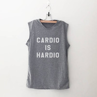 Cardio is hardio workout tank running tank gym tank funny muscle tank top workout shirt graphic tee gift women work out printed tshirt
