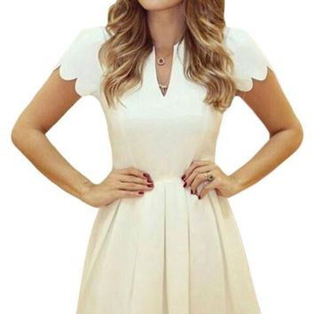 White Sweet Scallop Pleated Skater Fit and Flare Dress