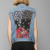 Urban Renewal Floral-Back Denim Vest - Urban Outfitters
