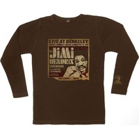 Jimi Hendrix Men's  Live At Berkeley Thermal  Long Sleeve Brown