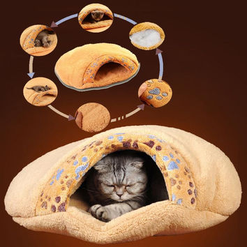 Warm Cat Dog Kitten Cave Pet Bed House Puppy Sleeping Mat Pad Igloo Nest Brown