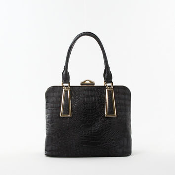 Croc Frame Shoulder Bag in Black