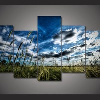 Prairie landscape and sky picture wall art canvas