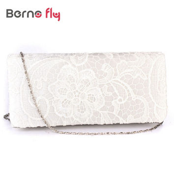New Bridal Wedding Lady Satin Evening Bags Lace Floral Day Pouch Clutches Women Messenger Shoulder Bag Purse Party Girl Handbags
