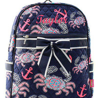 Monogrammed Navy Crab and Anchor Quilted Backpack  Personalized Quilted Backpack