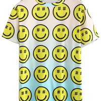 Color Block Smiling Face Printed T-shirt