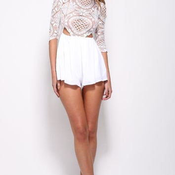 Seal With A Kiss Playsuit White