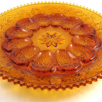 Vintage Deviled Egg Plate, Tiara Glassware, Amber Glass Plate