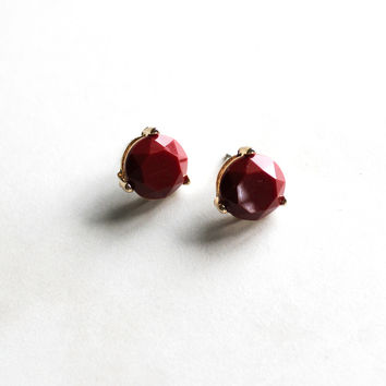 Circle Earrings in Burgundy