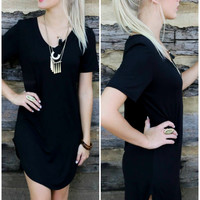 Casual Elegance Black V-Neck T-Shirt Dress With Rounded Hem