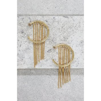 Gold Plated Hoop Chain Earring