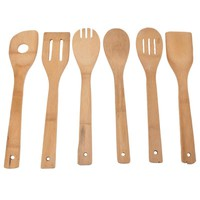 6PCS Bamboo Spatula Wooden Utensil Turners Tool Kitchen Cooking Tools Set Accessories New Cooking Mixing Wood Tools High Quality