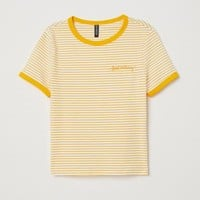 Short Jersey Top - White/yellow striped - Ladies | H&M US