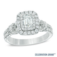 Celebration Grand® 1-1/6 CT. T.W. Emerald-Cut Diamond Frame Engagement Ring in 14K White Gold (I/I1)