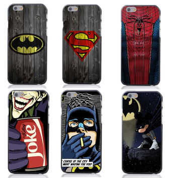 Marvel Super Hero Spider Man And Captain America Pattern Hard Plastic Frame Mobile Case For iPhone 4 4S SE 5 5S 5C 6 6S 6Plus
