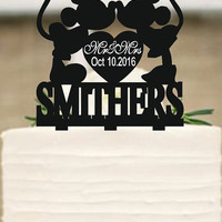 Custom Cake Topper,Wedding Cake Topper,Personalized Cake Topper,Mickey and Minnie Cake Topper,Bride and Groom Topper,Funny cake topper