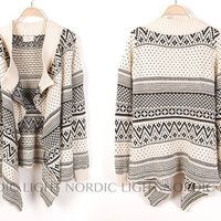 SALE- Wool Fleece Coat Long Sleeve Embroidered Sweater style
