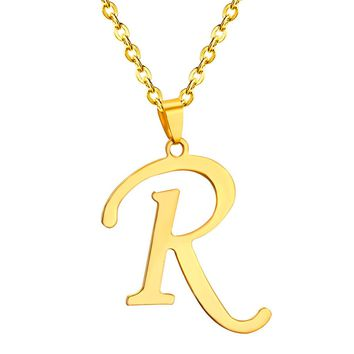 Letter Necklace With Chain - Gold, Silver