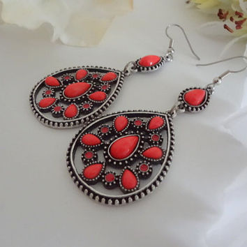 Antique Silver and Coral Teardrop Hoops,Long Hanging Pierced Earrings,Hoop Earrings,Coral Jewelry,Antique Silver Jewelry,Clip Earrings