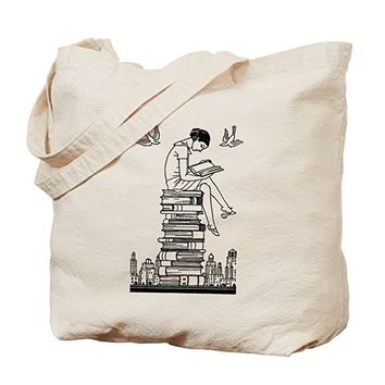 Reading Girl atop books Tote Bag - Natural Canvas Tote Bag, Cloth Shopping Bag