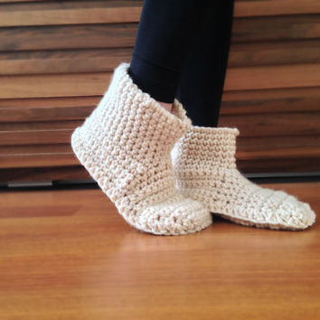 Women Slippers Beige Crochet Slippers Womens Slipper Boots House Shoes Slippers Socks Womens Crochet Booties Winter Fashion Indoor Slippers