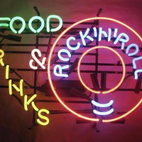 Food Drinks Rock N Roll Bar Music Beer Cerveza Neon Sign