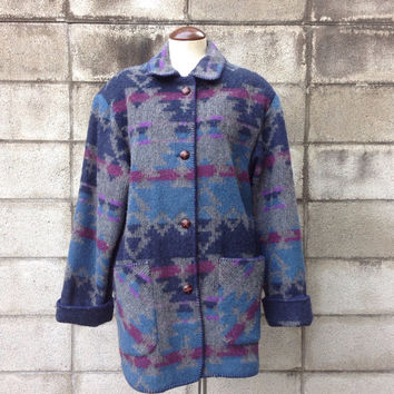 Southwestern Wool Jacket Vintage 1980s Lands End Oversized Blanket Coat Blazer Women's size M
