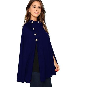 Navy Casual Double Button Mock Poncho  Collar Cape Coat