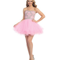 Pink Beaded Strapless Chiffon Dress 2015 Homecoming Dresses