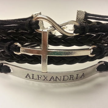 Personalized Infinity Cross Bracelet for Women and Girls feat. Hand Stamped Name and Sideways Cross Charm - Chose Your Color!
