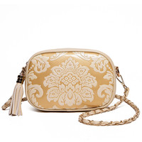 Flower Embossed Tassel Zip Chain Strap Bag - Beige