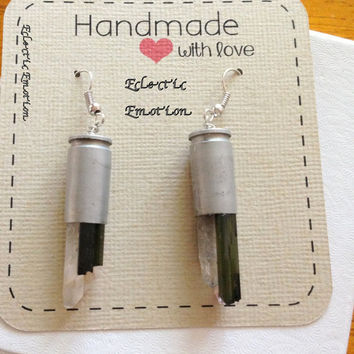 Green Tourmaline and Crystal Quartz Slices 9mm Silver Bullet Earrings
