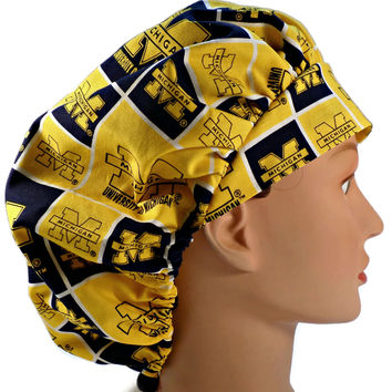 Women's Bouffant, Pixie, or Ponytail Surgical Scrub Hat Cap in Michigan Wolverines