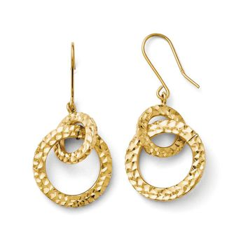 Diamond Cut Double Circle Post Dangle Earrings in 14k Yellow Gold