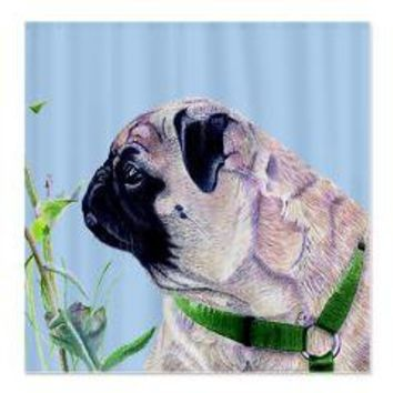 Beautiful Pug Art Shower Curtain> Home Products> Patty's Pet Art