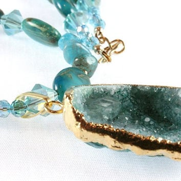 Teal Druzy Pendant with Variscite, Agate, and Crystal Necklace, Gold Filled, Gemstone Necklace