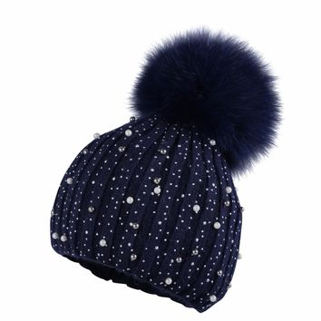 OHCOXOC New Women Thin Beanies Real Fox Fur Pom Poms Ball Cap luxury Beanies Skullies Solid Cashmere Winter autumn thin Hat